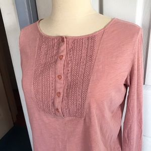 Loft Eyelet Embroidered Top Half Button Size S